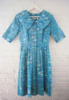 50s Garden Party Dress Vtg Nelly Don Atomic by KingArtsAndVintage, $120.00