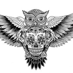 Owl + Sugar skull tattoo design--- inspiration for the ones with guts Little Tattoos, Love Tattoos, Beautiful Tattoos, Body Art Tattoos, Tatoos, Tattoo Sketch, Tattoo Drawings, Skull Drawings, Skull Tattoo Design