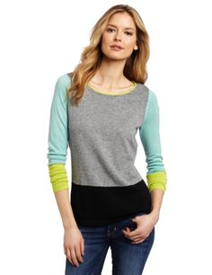 Vince Camuto Women's Long Sleeve Colorblock Sweater, Carbon Heather, Large - Long sleeve sweater Product Features  Colorblock sweater Fashion sweater