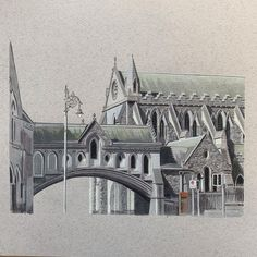Christchurch Cathedral, Dublin I've been beavering away on this one for a while now. I did a loose sketch of it back in July but wanted to do something more detailed as it is a spectacular building. I opted not to use the Unipin to outline it and paid a lot more attention to the brickwork. I have a tendency to omit things like road signs and traffic lights from my drawings but felt they added a pop of colour to this one. Hope you like it and would love to get your thoughts 🙏🏻