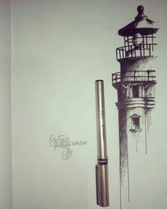 Dark Drawings, Tattoo Drawings, Pen Sketch, Drawing Sketches, Line Tattoos, Sleeve Tattoos, Light House Tattoo, Karten Tattoos, Lighthouse Drawing