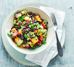 healthy salad of mango, avocado and beans. It& a nutritional powerhouse that& also vegan and gluten free Salad Recipes Video, Salad Recipes For Dinner, Bbc Good Food Recipes, Healthy Salad Recipes, Lunch Recipes, Healthy Snacks, Vegetarian Recipes, Healthy Eating, Cooking Recipes