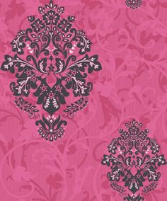 Arabesque (M0584) - Crown Wallpapers - A mid scaled floral damask motif overlaid on a textured background with a pretty raised matt and gloss leaf trail. Showing in dark grey on pink with silver highlights. Other colour ways available. Please request a sample for true colour match