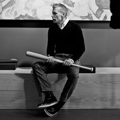 Nick Wooster with baseball bat - final meeting at JCPenney?
