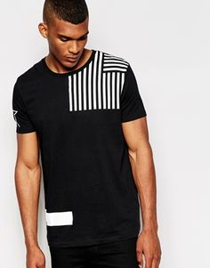 ASOS T-Shirt With Deconstructed Flag Print and Relaxed Skater Print