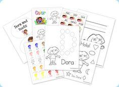 Dora --- #preschool pre-reading and math skills.  #printable