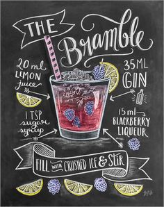 """Poster """"#Bramble #Cocktail"""" von Lily & Val - #Rezept #Erfrischung #Drink…"""