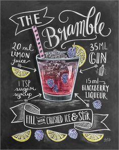 """Poster """"#Bramble #Cocktail"""" von Lily & Val - #Rezept #Erfrischung #Drink #Tafel #Kreide #recipe"""