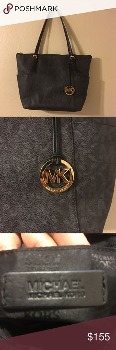 MARKED DOWN!!!! Authentic Michael Kors hand bag Like new black with mk print Michael Kors bag. Gold accents. Almost perfect condition. Also has matching wallet. Will bundle. Michael Kors Bags Totes
