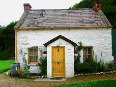 Irish Cottage with a yellow door by Stephanie Moore Swedish Cottage, Irish Cottage, Cottage Art, Cottage Homes, Cottage Style, Witch Cottage, Storybook Cottage, Victorian Cottage, Modern Cottage