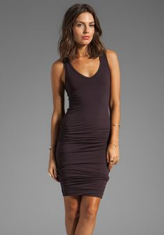 JAMES PERSE Rouched Tank Dress in Joplin - James Perse