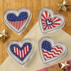 Americana Coasters Counted Cross-Stitch Kit - Herrschners #USA #July #patriotic #flag