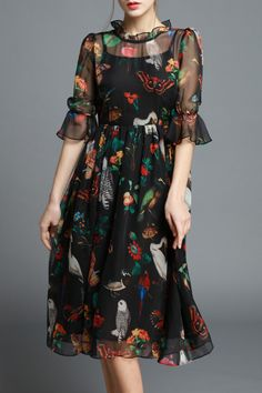 Black Ruffled Floral Print Dress | Midi Dresses at DEZZAL
