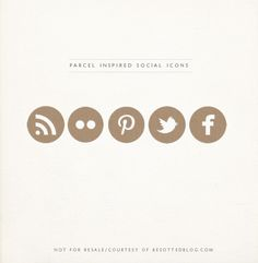 Free! Parcel-inspired social icons designed by| Miss Tristan B.'s via her  Besotted blog.