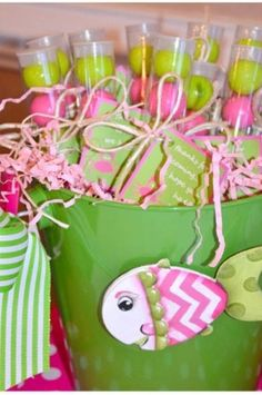 "Pink & Green Gumballs in a Tube - Tag saying ""Thank you for coming!  We hope you had a ""ball""!  Pink & Green Buckets - No Fish!"
