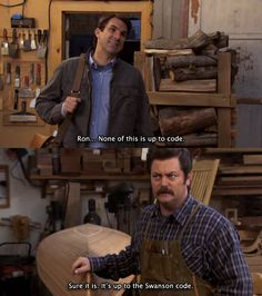 "Mark Brendanawicz (Paul Schneider) e Ron Swanson (Nick Offerman) nell'episodio 2x18 (The Possum) di ""Parks And Recreation""."
