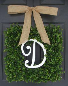 FALL WREATH SALE Monogram Boxwood Wreath Boxwood by ElegantWreath