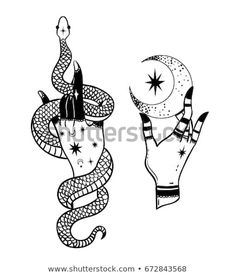 Discover Hands with snake and the moon. Vector patch and pin stock vectors and . - Discover Hands with snake and the moon. Vector patch and pin stock vectors and millions of other st - Tattoo Sketches, Tattoo Drawings, Body Art Tattoos, Hand Tattoos, Art Sketches, Art Drawings, Symbole Tattoo, Witch Tattoo, Moon Drawing