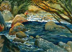 Early Sunday Morning on the Kern-Sid Bingham  – California Watercolor