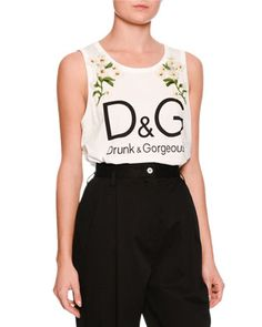 Daisy Logo Sleeveless Top, White by Dolce