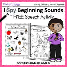 I Spy Beginning Sounds Activity – Free Printable for Speech and Apraxia Teach and practice initial sounds / phonemes with our free I Spy Beginning Sounds activity! Perfect for speech therapy, Apraxia, and beginning reading skills. Letter Activities, Phonics Activities, Speech Therapy Activities, Learning Phonics, Learning Activities, Therapy Games, Phonics Reading, Children Activities, Therapy Tools