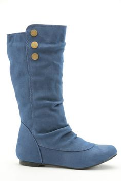Button Tab Side Ruched Boots @ Everything5pounds.com