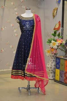 Beautiful blue color floor length dress with pink net duppata. TS-DS- 482 For orders/queries Call/ whats app on 8341382382 or Mail tejasarees@yahoo.com.