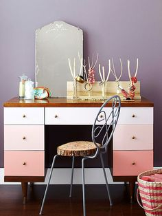 Vanity idea. Like the ombré idea. Best is the storage and I already have the mirror!
