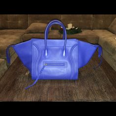 Large Celine Phantom Bag In Royal Blue Like New Celine Phantom Bag, Comes with authenticity card and dust bag. Handbag is basically new, was used once indoors Celine Bags Shoulder Bags