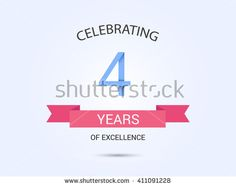 4 years anniversary, signs, symbols, simple design with red ribbon.