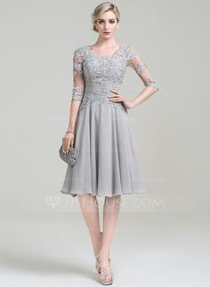 A-Line Princess Scoop Neck Knee-Length Chiffon Mother of the Bride Dress  With Ruffle Appliques Lace (008085301) 45181a3b68f8