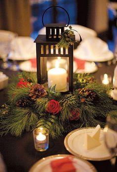 Winter wedding centerpiece with lanterns inspiration.