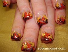Fall Leaves... This kinda makes me feel like getting my nails done and being girly.