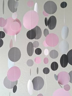 Pale PINK, Dark GREY and GREY Circle Confetti Garland - 12 Feet (3 Yards) - Birthday Holiday Mitzvah Wedding Party Decoration. $12.50, via Etsy.