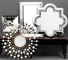 From starburst to quatrefoil - Z Gallerie Mirror Gallery Wall, Starburst Mirror, Stylish Home Decor, Through The Looking Glass, Home Furniture, Mirrored Furniture, Mirror Mirror, Mirror Walls, Home Furnishings