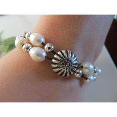 Leather Bracelet, Pearl Bracelet, Hill Tribes Fine Silver Bracelet,... ($31) ❤ liked on Polyvore featuring jewelry, bracelets, sterling silver jewellery, adjustable bangle, sterling silver jewelry, antique sterling silver jewelry and silver bangles