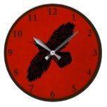 Raven On Red Large Clock  #Clock #Large #raven #RusticClock The Rustic Clock Rustic Clocks, Large Clock, Raven, Decor, Decorating, Ravens, Crows, Decoration, Inredning