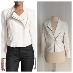 "Helmut Lang moto jacket Helmut Lang white moto jacket  Brand new with tags. Size S. The front has a zipper closure and two pockets. The shell is 60% viscose/ 35% polyamide/ 5% elastane. The lining is 94% polyester/ 6% spandex. Measures 22"" long with a 34"" bust. No trades. Poshmark onlyI am very open to fair offers! Helmut Lang Jackets & Coats"