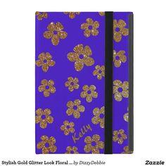 Stylish Gold Glitter Look Floral iPad Mini Case