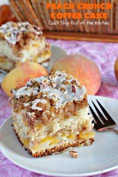 This amazing layered coffee cake has two coffee cake layers, two streusel layers, two peach layers, then it's layered with pecans and drizzled with powdered sugar icing. It's terrific for company or holiday dinners or for breakfast! Peach Coffee Cakes, Peach Cake, Streusel Cake, Streusel Topping, Dessert Bread, Dessert Recipes, Peach Bread, Cinnamon Crunch, Crunch Cake