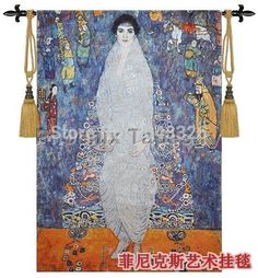 Beautiful tapestry wall hanging Home textile decoration Klimt - Adele Baroness Soft cotton Woven Jacquard products PT-14