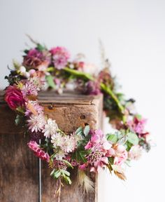 Inspiration for the floral crown for the flower girls but think more foliage between the flowers. Love Flowers, Diy Flowers, Flowers In Hair, Beautiful Flowers, Wedding Flowers, Magenta Flowers, Shabby Flowers, Rustic Flowers, Fresh Flowers
