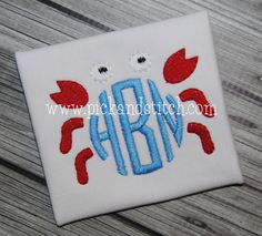 Monogram Crab Mini Frame from Pick and Stitch