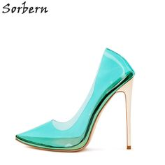 4b2c941e5e9d2 Sorbern Clear PVC Transparent Women Pumps Stilettos Heels