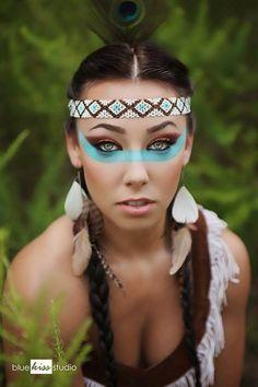 Klasse Make-up zum Karneval als Indianerin. Noch mehr Ideen gibt es auf www.Spaaz.de