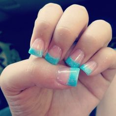 Nude nails with a sparkly blue french tips. We Heart It Nails, Love Nails, How To Do Nails, Gorgeous Nails, Pretty Nails, Cute Acrylic Nails, Gel Nails, Cute Nail Designs, Toe Designs