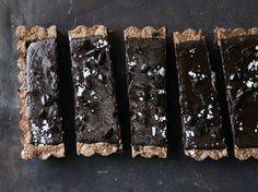 chocolate ganache tart with sea salt espresso beans