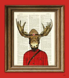 Royal Canadian Mounted Moose Mountie Police Moose illustration beautifully upcycled dictionary page book art print