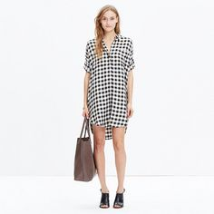 Our beloved boy-meets-girl shirt is reborn as the perfect buffalo check shirtdress. Cool and effortless in a special soft and drapey weave.