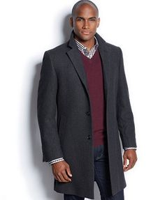 Nautica Single-Breasted Herringbone Overcoat